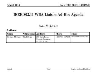 IEEE 802.11 WBA Liaison Ad-Hoc Agenda
