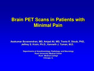 Brain PET Scans in Patients with Minimal Pain