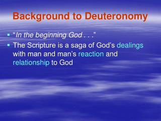 Background to Deuteronomy