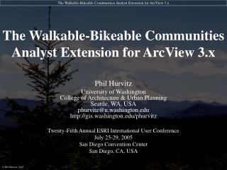 The Walkable-Bikeable Communities Analyst Extension for ArcView 3.x