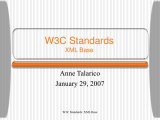 W3C Standards XML Base