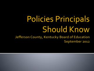 Jefferson County, Kentucky Board of Education September 2012