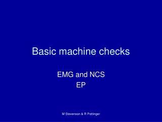 Basic machine checks