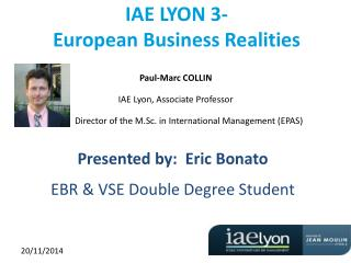 IAE LYON 3-  European Business Realities
