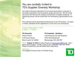 Friday, September 5,  2014 8:30am –  11:00am