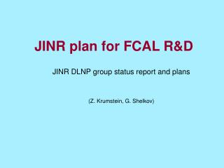 JINR plan for FCAL R&D