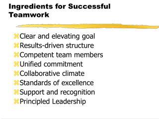Ingredients for Successful Teamwork