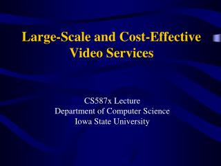 Large-Scale and Cost-Effective Video Services