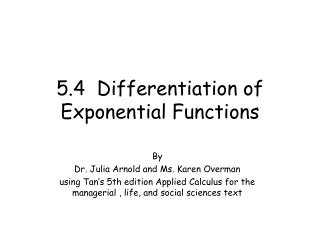 5.4  Differentiation of Exponential Functions