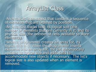ArrayList Class