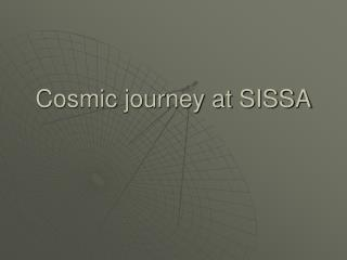 Cosmic journey at SISSA