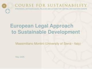 European Legal Approach  to Sustainable Development
