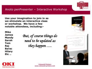 Anoto penPresenter – Interactive Workshop