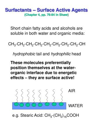 Surfactants – Surface Active Agents (Chapter 4, pp. 76-84 in Shaw)