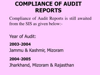 COMPLIANCE OF AUDIT REPORTS
