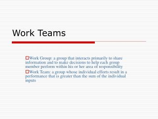 Work Teams