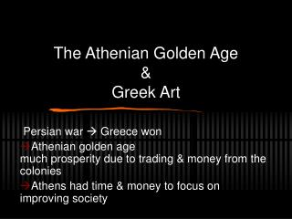 The Athenian Golden Age & Greek Art