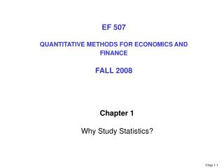 Chapter 1  Why Study Statistics