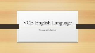 VCE English Language