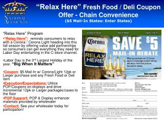 """""""Relax Here""""  Fresh Food / Deli Coupon Offer - Chain Convenience"""