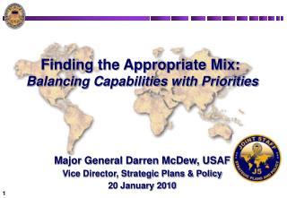 Finding the Appropriate Mix:  Balancing Capabilities with Priorities       Major General Darren McDew, USAF Vice Directo