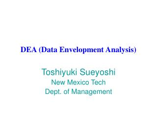 DEA (Data Envelopment Analysis)