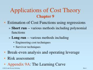 Applications of Cost Theory Chapter 9