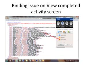 Binding issue on View completed activity screen