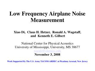 Low Frequency Airplane Noise Measurement