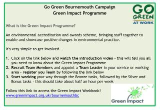 Go Green Bournemouth Campaign Green Impact Programme