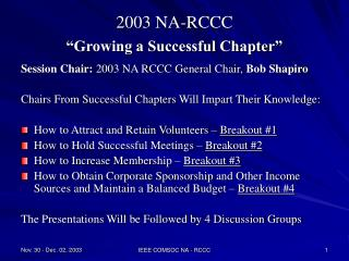 "2003 NA-RCCC ""Growing a Successful Chapter"""