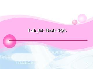Lab_04:  Basic SQL