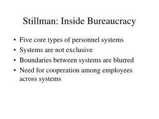 Stillman: Inside Bureaucracy