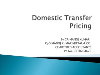 Domestic Transfer Pricing
