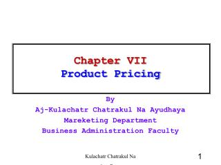 Chapter  VII Product Pricing