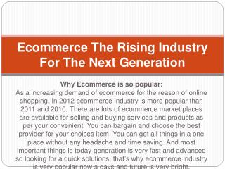 Ecommerce The Rising Industry For The Next Generation