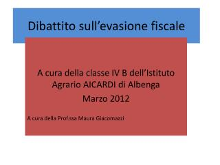 Dibattito sull'evasione fiscale