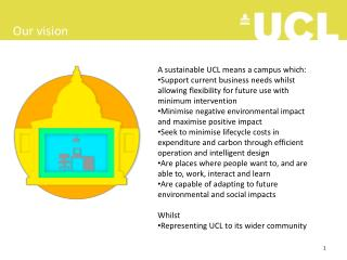 A sustainable UCL means a campus which:
