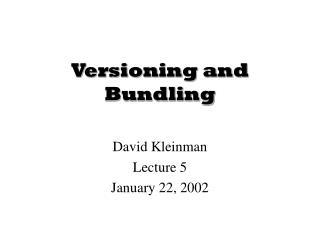 Versioning and Bundling