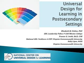 Universal  Design for  Learning in Postsecondary Settings
