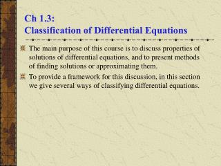 Ch 1.3:  Classification of Differential Equations