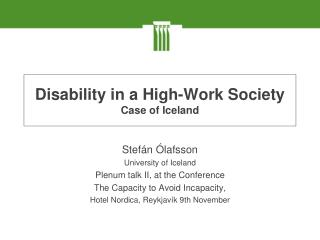 Disability in a High-Work Society Case of Iceland
