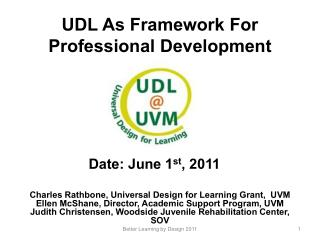 UDL As Framework For Professional Development
