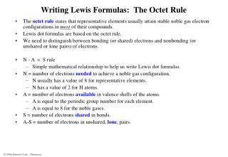 Writing Lewis Formulas:  The Octet Rule
