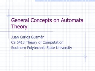 General Concepts on Automata Theory