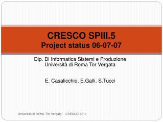 CRESCO SPIII.5 Project status 06-07-07