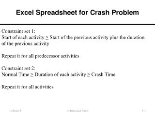 Excel Spreadsheet for Crash Problem