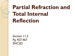 Partial Refraction and Total Internal Reflection