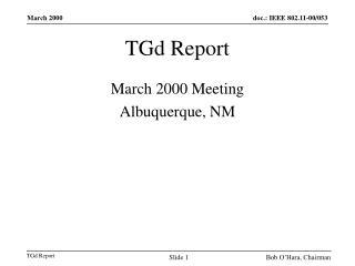 TGd Report