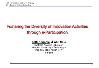 Fostering the Diversity of Innovation Activities through e-Participation